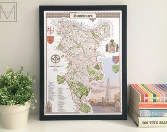 Southwark (London Borough) illustrated map giclee print
