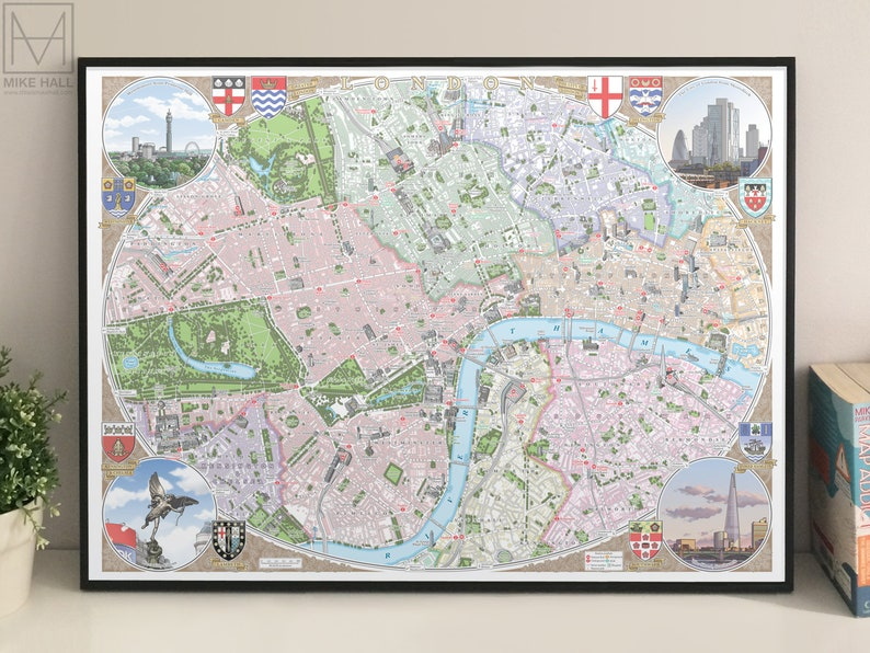 Central London Map To Print.London Illustrated Map Giclee Print