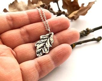 Oak Leaf + Your Fingerprint Fine Silver Jewelry
