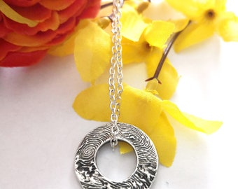 3 Fingerprints Donut Pendant Fine Silber Jewelry