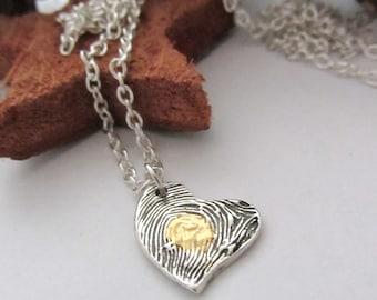 Heart Fingerprint Fine Silver Gold 22K Never Forget Pendant Personalized