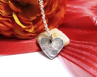 Your Fingerprint Love Pendant Fine Silver Memory Mothersday Gift Keepsake