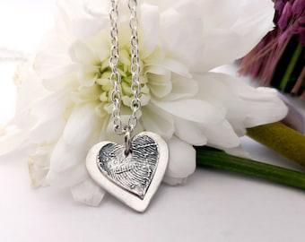 Original Fingerprint Jewelry 2 Hearts Pendant Fine Silver