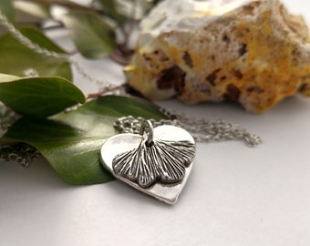 Ginkgo Leaf + Your Fingerprint Jewelry Handmade in Germany