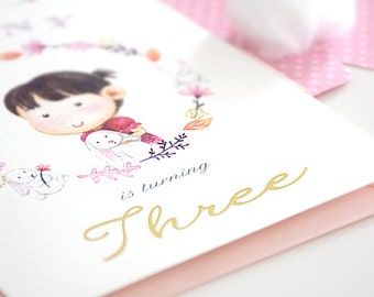 1st Baby Girl S Birthday Party Invitation Card Pink Baby Etsy