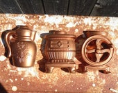Vintage Lot of Chalkware Kitchen Wall Hangings (Stove, Pitcher Coffee Pot, Coffee Grinder)