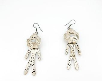 Mexican Modern Sterling Silver Kinetic Person Earrings