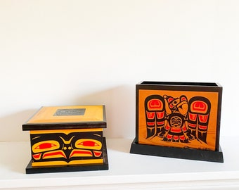 2 Native American indigenous red cedar painted boxes people Pacific Northwest