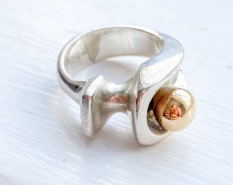 Mid Century Modern Studio Abstract Silver and Gold Ring