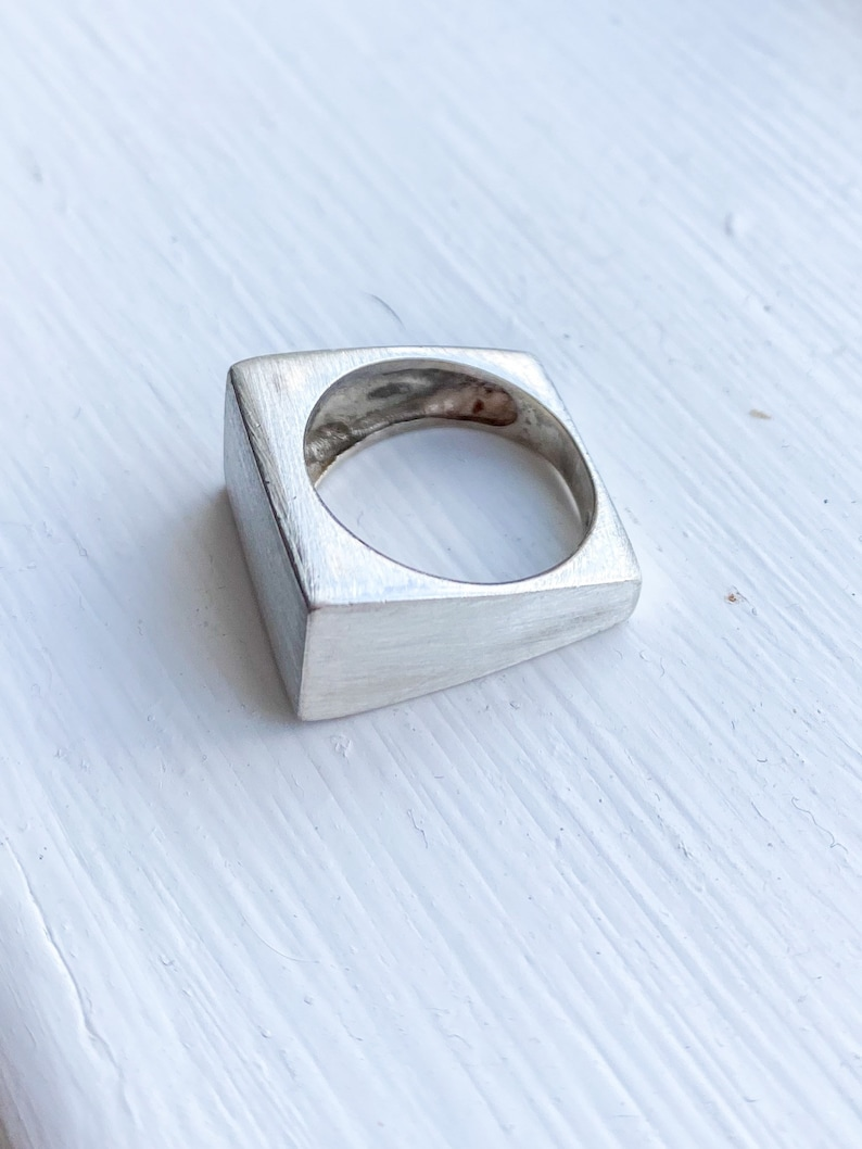 Vintage Signet Brushed Silver Ring