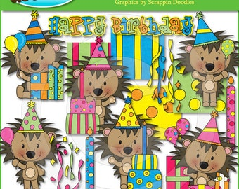 Little Birthday Hedgehogs Clip Art