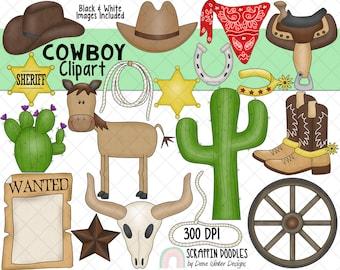 Cowboy ClipArt - Western ClipArt - Wild West Clipart - Desert ClipArt - Southwest ClipArt - Cactus ClipArt - Cactus - Spurs - Cowboy Boots