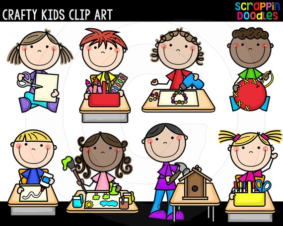 Crafty Kids Clip Art Cute Commercial Use Kids Doing Crafts Etsy