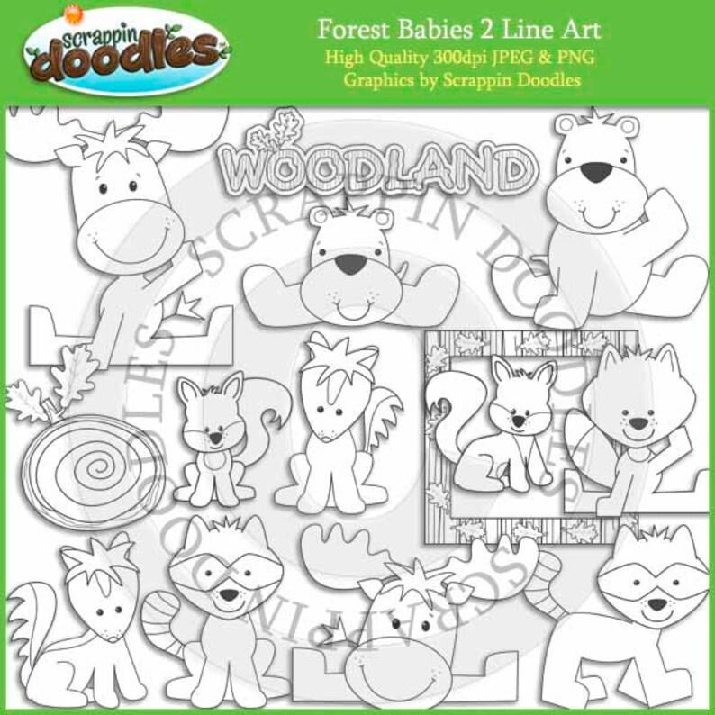 Forest Babies 2 Line Art