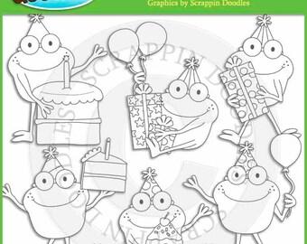 Froggy Fun Birthday Line Art