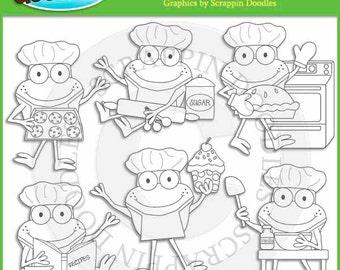 Froggy Fun Chefs Line Art