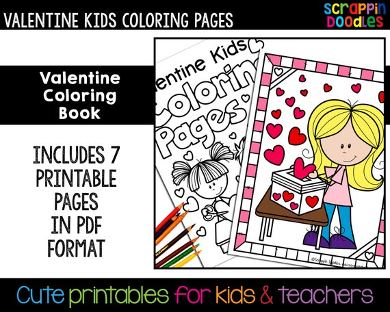 Valentine Kids Coloring Book  Cute Valentine's Day