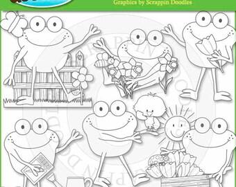 Froggy Fun Spring Days Line Art