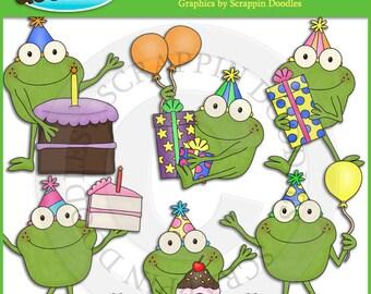 Froggy Fun Birthday Clip Art