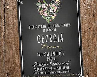 Chalkboard Floral Heart Bridal Shower Invitation- Digital