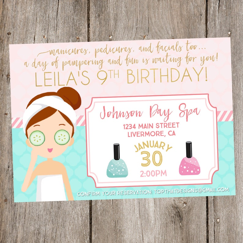 Spa Birthday Party Invitation Digital image 0