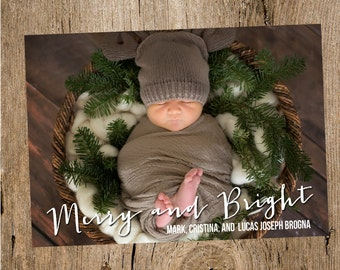 Merry and Bright Holiday Photo Card- Digital