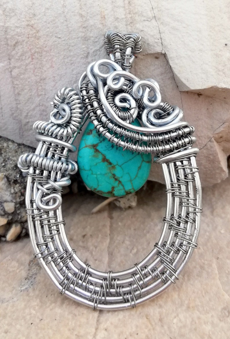 Wire wrapped pendant Handmade  Turquoise jewerly Wirewrapping Bohemian Oneofakind