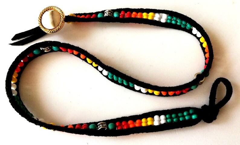 Wrap bracelet Boho wrap bracelet Faux leather bracelet Beadwork bracelet  Beaded wrap bracelet Handmade bracelet Native american inspired