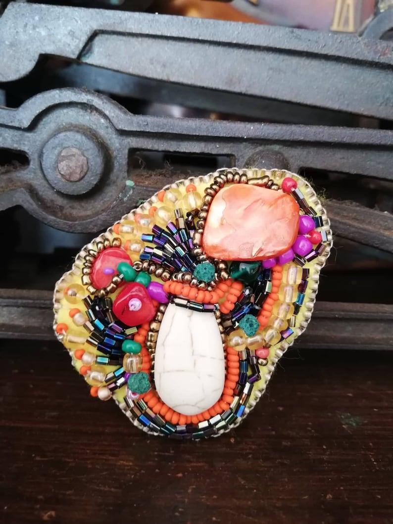 Brooch Bohemian brooch DIY brooch Bead embroidery Freeform brooch Embroidery brooch Beading jewelry DIY jewelry Handmade broochBeaded brooch