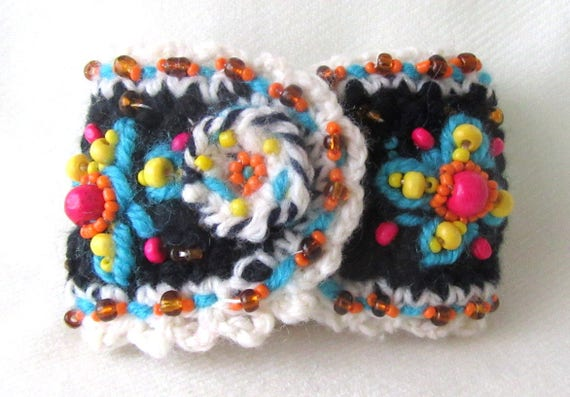 Manschette Armband Häkeln Blumen Armband Häkelschmuck Etsy
