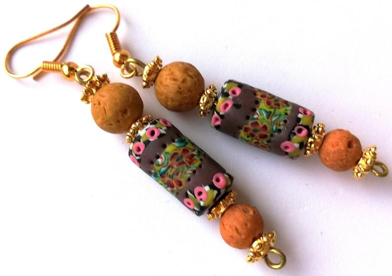 Polymerclay Earrings Handmade Artisan Boho Earrings Colorful Oneofakind Earrings
