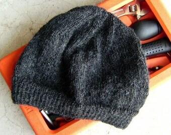 Men s Alpaca Wool Beanie Hat Dark Gray Light Thin Hand Knit Winter Hiking  Skiing Snowboarding Gent s Hat (Size One-size - Ready to Ship) 9f623bd0d2f4