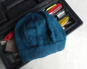 Men s Alpaca Wool Beanie Indigo Green Blue Light Thin Hand Knit Winter  Hiking Skiing Snowboarding Gent s Hat (One Size - Ready to Ship) 4f1a38da875c