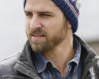 Mens Viking Beanie - Men s Fair Isle Wool Hat - Mens Norwegian Blue Gray  Skully Hiking Biking Hand Knit Womens Hiking Hat (Ready to Ship) 7630b644d34d