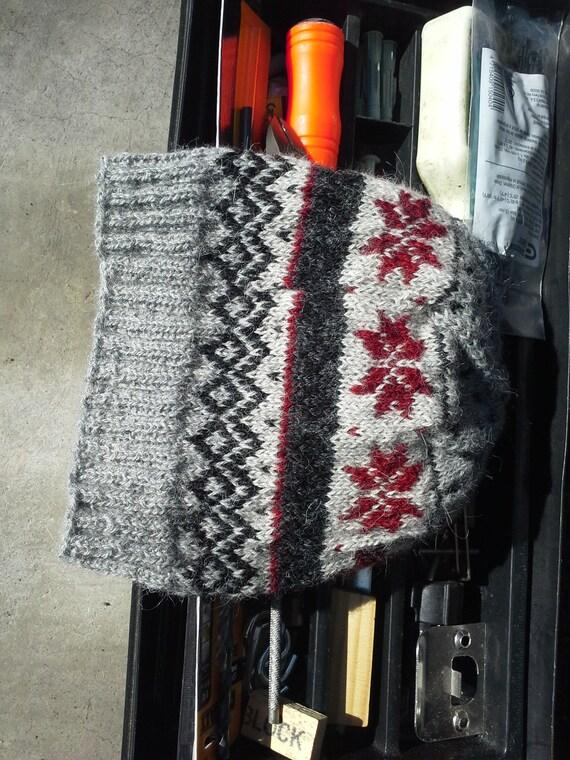 Nordic Fair Isle Alpaca Wool Hat Viking Beanie Black Gray Red  bf364b5a64d1