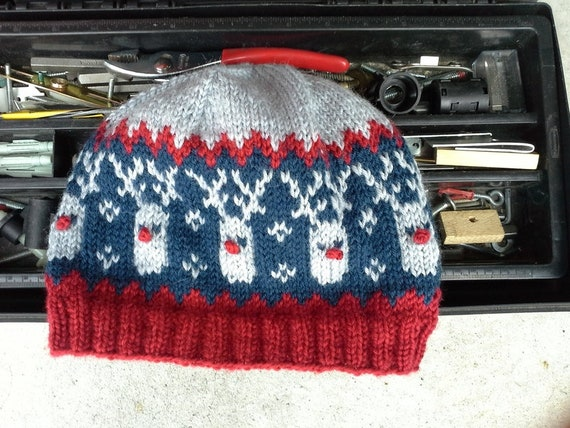 Mens Red Nose Reindeer Beanie Mens Ugly Christmas Hat  4cabef2da8a2