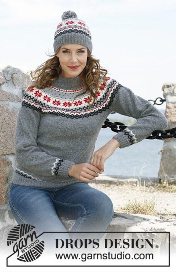 Nordic Fair Isle Alpaca Wool Hat Viking Beanie Black Gray Blue  afdd010fbf34