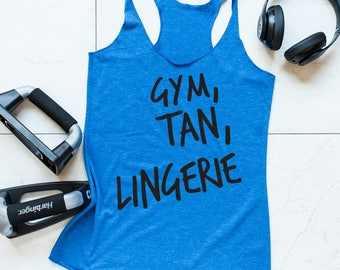 Gym tan lingerie, funny tshirt, motivation, christmas gift, womens tank top, fitness tank top, Next level, Gym, tank, NL6733 Royal