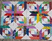 12 BRIGHT STARS Quilt Top Fabric Blocks Squares
