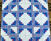36 BLUE FLOWERS Log Cabin Quilt Top Fabric Blocks Squares Kit