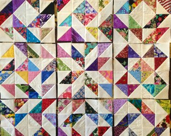 9 Color  COLLECTION SAMPLER  Quilt Top Fabric Blocks 100% Cotton Made in USA