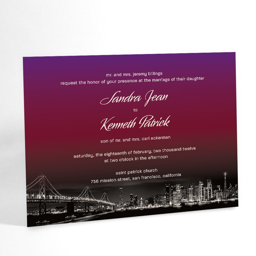Ombre Wedding Invitations City Wedding Sunset Over City | Etsy
