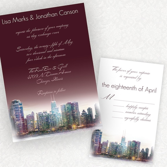 Personalized Skyline Wedding Invitations: Penthouse Dreams Chicago Skyline Wedding Invitations From