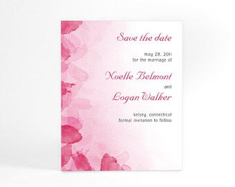 Summer Save The Date Cards with Watercolor Flower Petals, Watercolor Imagery Digitally Printed, Simple and Elegant, In Your Choice of Color