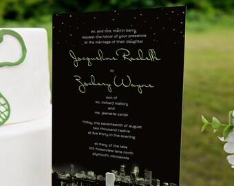 City Lights Wedding Invitation featuring Your Hometown, Custom City Skyline, Night Sky with Stars
