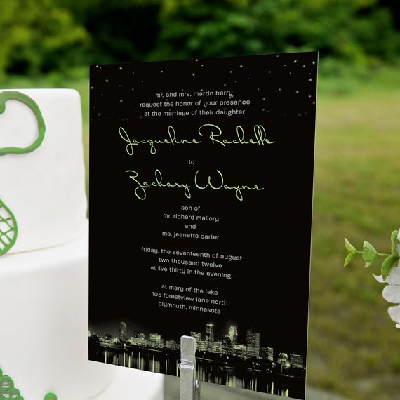 Handmade Detroit Skyline Wedding Invitations By Lano: City Lights Wedding Invitation Featuring Your Hometown