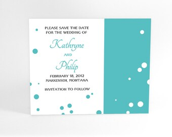 Modern Fun Save The Date Announcement with Bubbly Polka Dots Inspired by Champagne Bubbles. Personalized custom design, any color!.