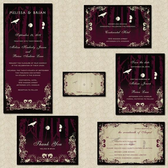 Halloween Wedding Save The Date Cards Elegant Gothic Wedding Etsy