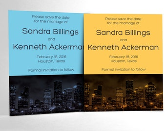 Houston After Dark Save the Date cards featuring the Houston skyline at night. Clean, elegant, bold and modern wedding announcement.