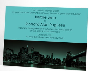 New York After Dark wedding invite suite features the Manhattan skyline. Urban themed modern wedding invitations. Coordinate to your colors!